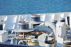 Anchor windlass with chain. Anchor windlass mechanism with chain on ship deck Stock Photography
