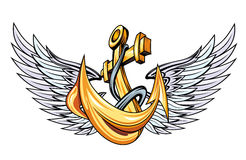 Anchor with wings Stock Photos