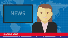 Anchor woman news headline breaking tv Royalty Free Stock Photography