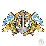 Anchor between wreath and crossed flags on white. Sport logo for any yachting or sailing team. Or championship stock illustration