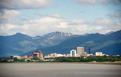 Ορίζοντας στο κέντρο της πόλης Anchorage Αλάσκα ΗΠΑ πόλεων κτιρίων γραφείων Στοκ Φωτογραφία