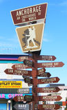 Anchorage air crossroads of the world signpost Royalty Free Stock Photos
