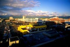 Anchorage, Alaska bij 10 PM Stock Afbeeldingen