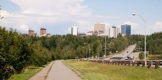 Anchorage Alaska Daytime Downtown City Skyline Bike Path Highway Royalty Free Stock Image