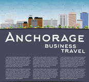 Anchorage (Alaska) Skyline with Grey Buildings, Blue Sky and cop Royalty Free Stock Photo