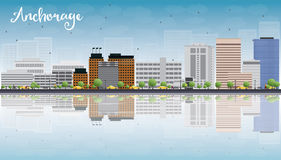 Anchorage (Alaska) Skyline with Grey Buildings and reflections Royalty Free Stock Photography