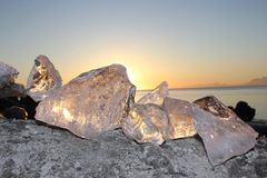 Sunset ice at Point Woronzof Alaska royalty free stock photo