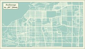 Anchorage Alaska USA City Map in Retro Style. Outline Map. Vector Illustration vector illustration