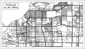 Anchorage Alaska USA City Map in Retro Style. Outline Map. Vector Illustration Stock Photo