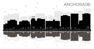 Anchorage City skyline black and white silhouette with reflectio Stock Photography