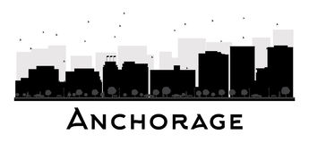 Anchorage City skyline black and white silhouette. Stock Photography