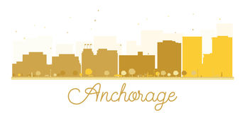 Anchorage City skyline golden silhouette. Vector illustration. Simple flat concept for tourism presentation, banner, placard or web site. Business travel Stock Photography