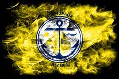 Anchorage city smoke flag, Alaska State, United States Of Americ. A Royalty Free Stock Image