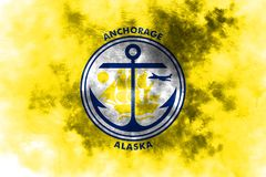 Anchorage city smoke flag, Alaska State, United States Of Americ. A Stock Images