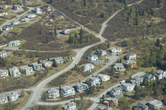 Anchorage city suburbs. Aerial view of housing development in Anchorage city suburbs, Alaska, U.S.A Royalty Free Stock Images