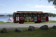 Anchorage City Trolly Tours. Tours in a trolly showing tourist the city of Anchorage Alaska stock photo
