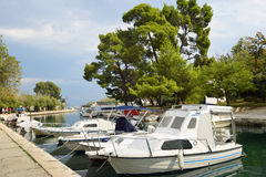 Anchorage ground in Trogir, Boats anchor at the seafront in Trog Stock Photos