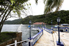 Anchorage. Little anchorage in coast of Palmas island in santos, sao paulo state, brazil stock image