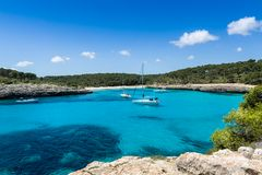 Anchorage at Mallorca national park landscape. Royalty Free Stock Photography