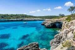Anchorage at Mallorca nationl park landscape. Stock Photos