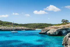 Anchorage at Mallorca nationl park landscape. Royalty Free Stock Photos