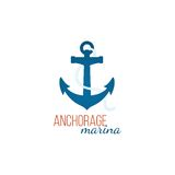 Anchorage marina logo template with anchor Stock Images