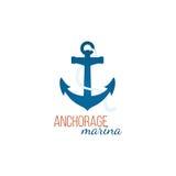 Anchorage marina logo template with anchor. Anchorage marina - logo template with anchor Stock Images