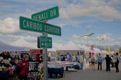Anchorage market. Weekend market in Anchorage,Alaska USA stock photo