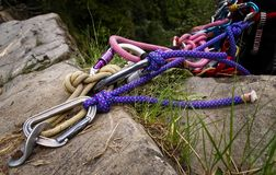 Anchorage with safety cords and carabiners ready to go down royalty free stock image