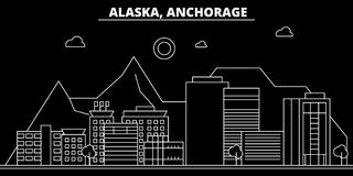 Anchorage silhouette skyline. USA - Anchorage vector city, american linear architecture, buildings. Anchorage travel royalty free illustration