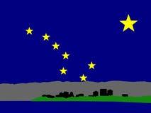 Anchorage skyline. Anchorage Alaska skyline against Alaskan Flag illustration Stock Photos