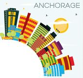 Anchorage Skyline with Color Buildings, Blue Sky and Copy Space. Royalty Free Stock Photography