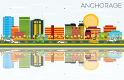 Anchorage Skyline with Color Buildings, Blue Sky and Reflections Royalty Free Stock Image