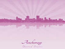 Anchorage skyline in purple radiant orchid Royalty Free Stock Photo