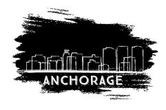 Anchorage Skyline Silhouette. Hand Drawn Sketch. Vector Illustration. Business Travel and Tourism Concept with Historic Architecture. Image for Presentation Stock Photo