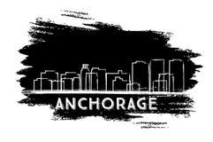 Anchorage Skyline Silhouette. Hand Drawn Sketch. Stock Photo