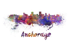 Anchorage skyline in watercolor. Splatters with clipping path Royalty Free Stock Images