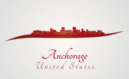 Anchorage syline in red. Anchorage skyline in red and gray background in editable vector file Stock Photo