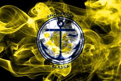 Anchoragestadt-Rauchflagge, Staat Alaska, Vereinigte Staaten von Americ Lizenzfreie Stockbilder