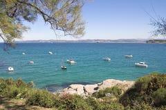 Anchored. Boats anchored in Santander bay Royalty Free Stock Photo