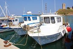 Anchored boats stock photos