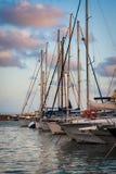 Anchored boats. Boats docket at Cambrils harbor. Mediterranean village Royalty Free Stock Photography