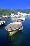 Anchored boats in Adriatic port Stock Photos