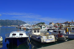 Anchored boats in Budva port Royalty Free Stock Images