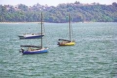 Anchored Boats in Dona Paula Bay Stock Image