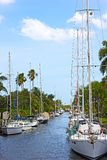 Anchored boats in Miami neighborhood, Florida. Royalty Free Stock Photography