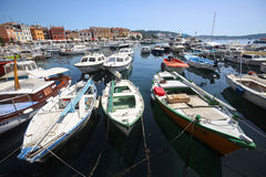 Anchored boats in Rovinj Royalty Free Stock Images