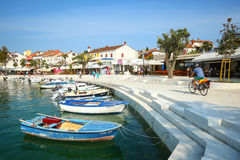 Anchored boats at seafront Royalty Free Stock Images
