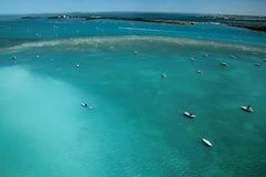 Aerial view of boats in the Florida keys, USA water stock image