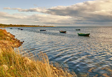 Anchored boats Stock Images